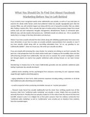 What You Should Do To Find Out About Facebook Marketing Before You're Left Behind.doc