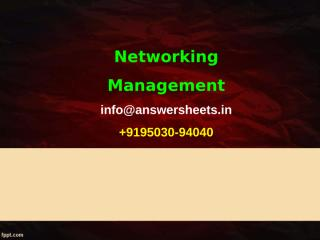 Assume these are two management stations – one SNMP based and the other Corba based. The SNMP based manager does poll based fault management.ppt