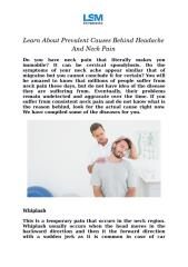 Learn About Prevalent Causes Behind Headache And Neck Pain.docx