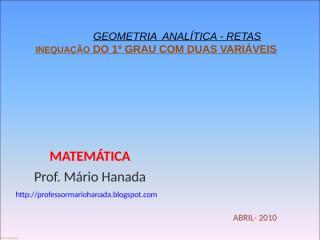 INEQUAÇÃO DO 1º GRAU COM DUAS VARIÁVEIS (geometria analítica).pps