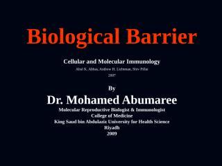 BIOLOGICAL BARRIERS November 15 2009.ppt