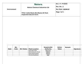 DAILY SOLID WASTE BIN and WASTE OIL TANK INSPECTION  RECORD FORM.docx